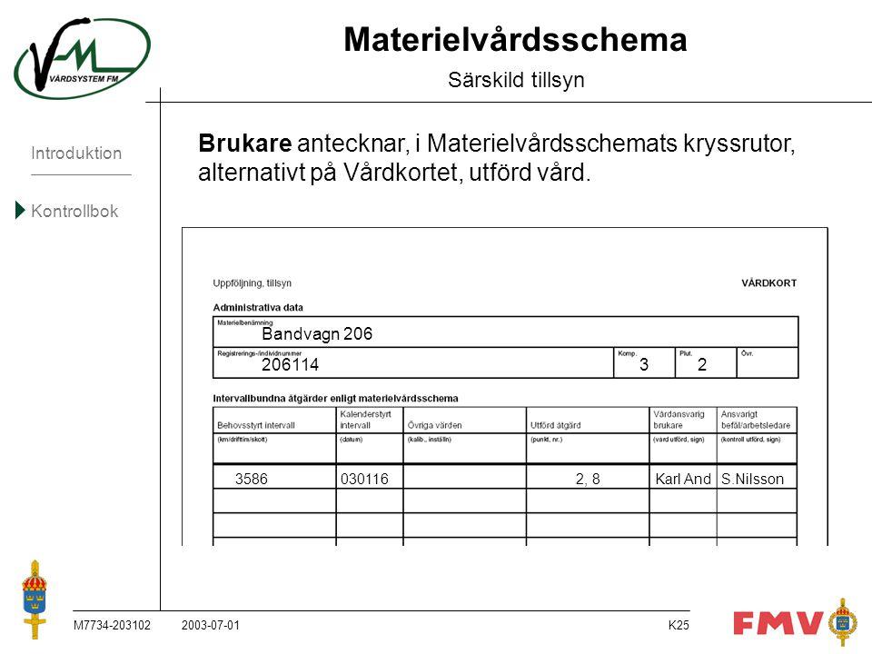 Introduktion Kontrollbok M7734-203102K25 Materielvårdsschema Särskild tillsyn Brukare antecknar, i Materielvårdsschemats kryssrutor, alternativt på Vå