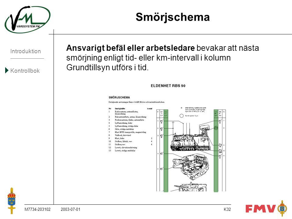 Introduktion Kontrollbok M7734-203102K32 Ansvarigt befäl eller arbetsledare bevakar att nästa smörjning enligt tid- eller km-intervall i kolumn Grundt