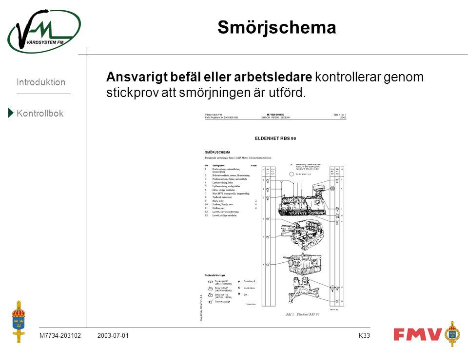 Introduktion Kontrollbok M7734-203102K33 Smörjschema Ansvarigt befäl eller arbetsledare kontrollerar genom stickprov att smörjningen är utförd. 2003-0