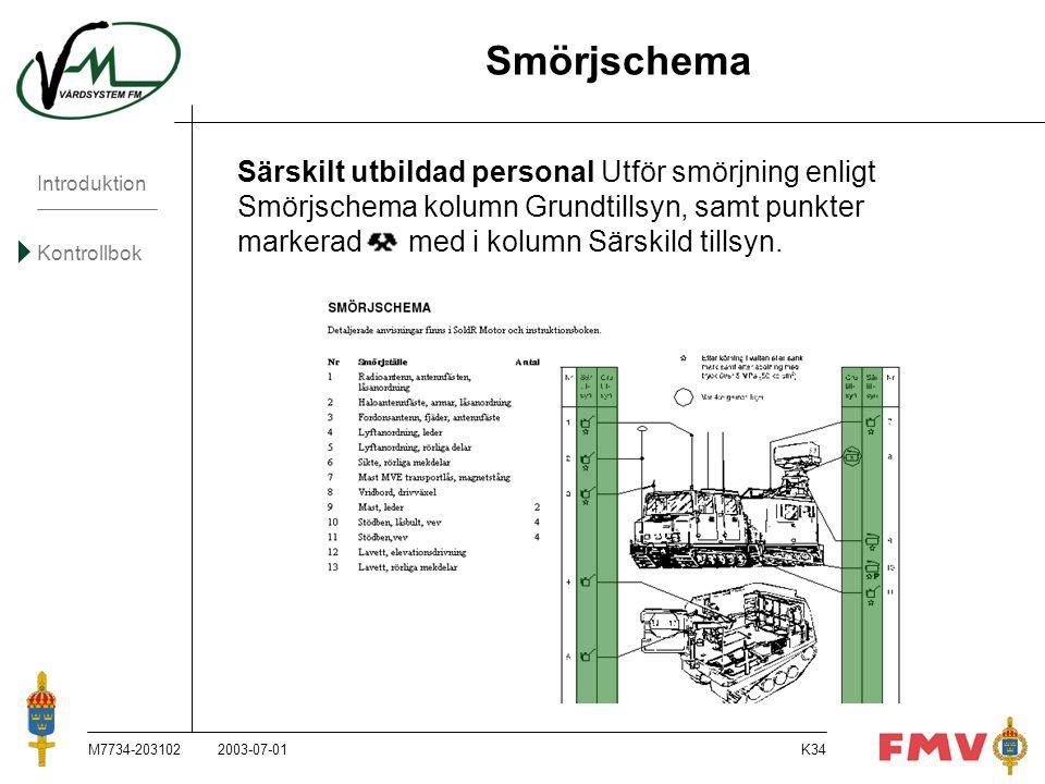 Introduktion Kontrollbok M7734-203102K34 Särskilt utbildad personal Utför smörjning enligt Smörjschema kolumn Grundtillsyn, samt punkter markerad med