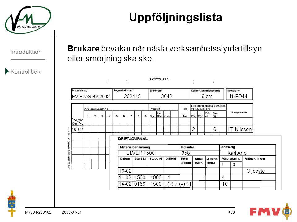 Introduktion Kontrollbok M7734-203102K38 Uppföljningslista 2003-07-01 Brukare bevakar när nästa verksamhetsstyrda tillsyn eller smörjning ska ske. PV