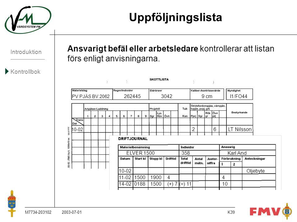 Introduktion Kontrollbok M7734-203102K39 Uppföljningslista Ansvarigt befäl eller arbetsledare kontrollerar att listan förs enligt anvisningarna. PV PJ