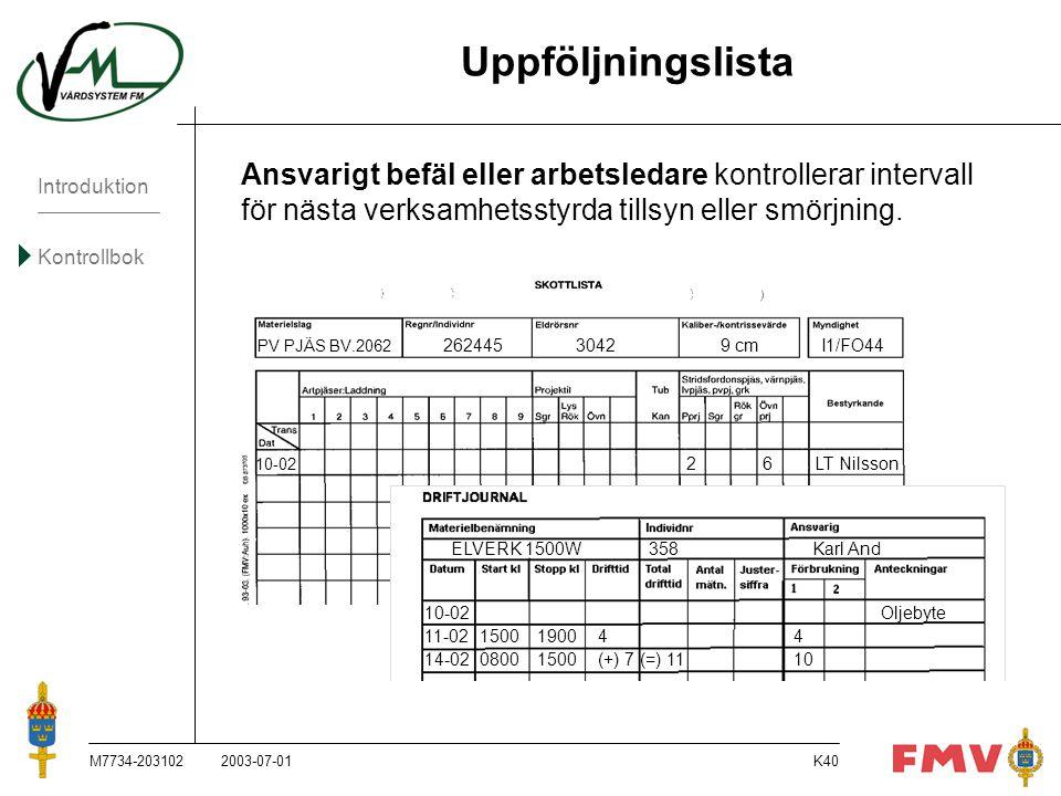 Introduktion Kontrollbok M7734-203102K40 Uppföljningslista Ansvarigt befäl eller arbetsledare kontrollerar intervall för nästa verksamhetsstyrda tills