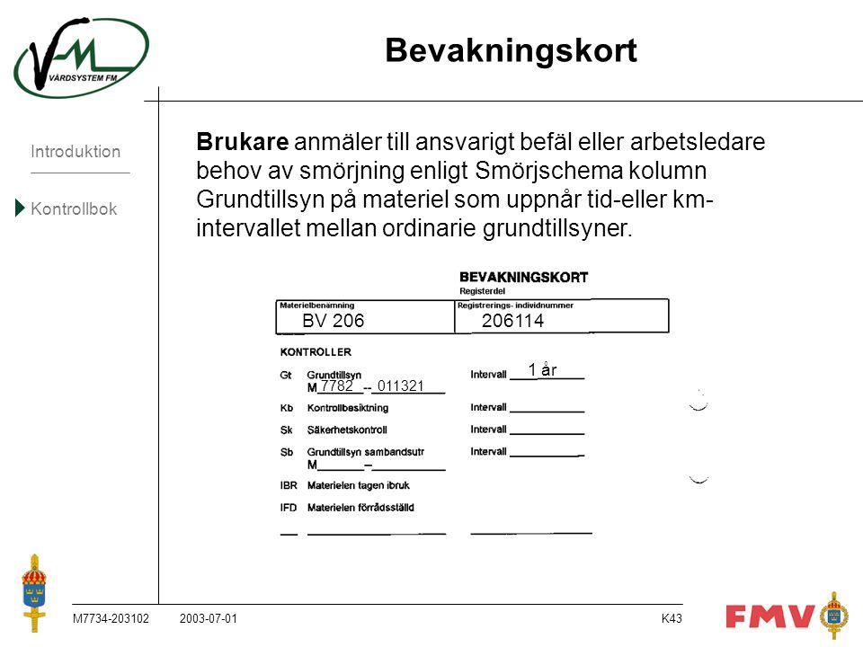 Introduktion Kontrollbok M7734-203102K43 Bevakningskort Brukare anmäler till ansvarigt befäl eller arbetsledare behov av smörjning enligt Smörjschema