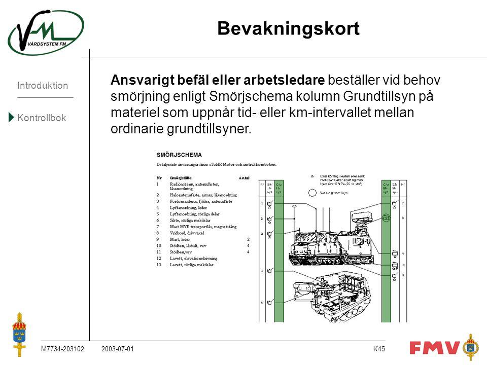 Introduktion Kontrollbok M7734-203102K45 Bevakningskort Ansvarigt befäl eller arbetsledare beställer vid behov smörjning enligt Smörjschema kolumn Gru