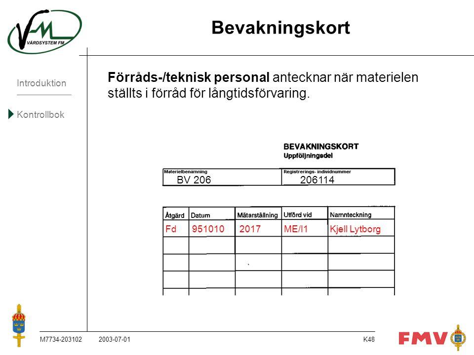 Introduktion Kontrollbok M7734-203102K48 Bevakningskort Förråds-/teknisk personal antecknar när materielen ställts i förråd för långtidsförvaring. BV