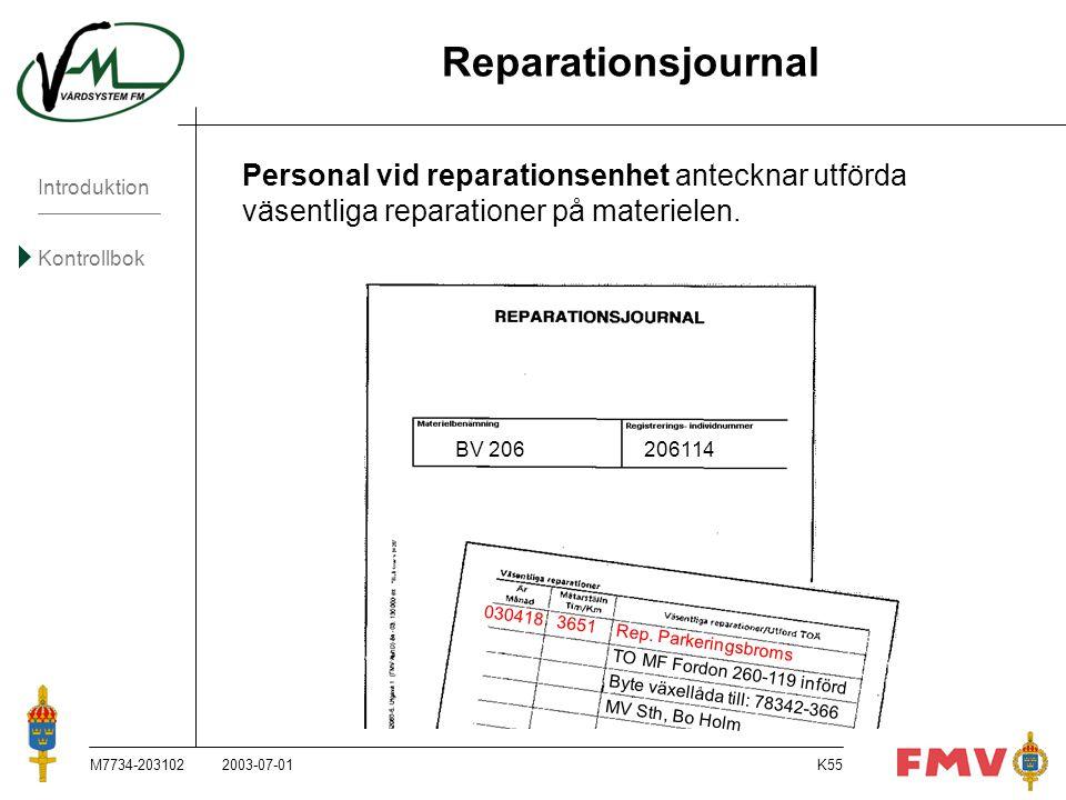 Introduktion Kontrollbok M7734-203102K55 Reparationsjournal Personal vid reparationsenhet antecknar utförda väsentliga reparationer på materielen. BV