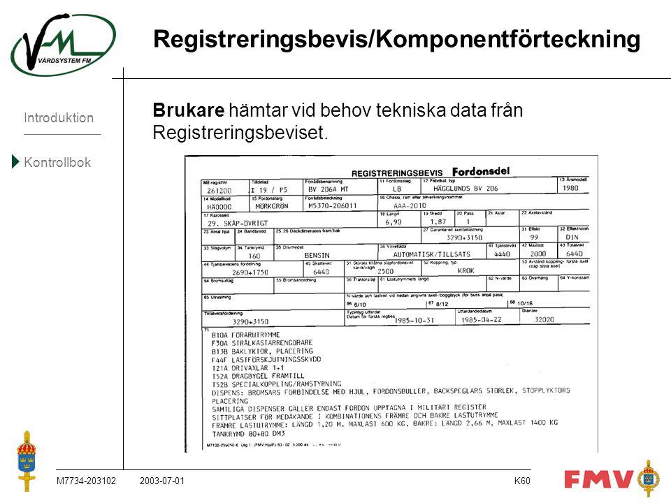 Introduktion Kontrollbok M7734-203102K60 Registreringsbevis/Komponentförteckning Brukare hämtar vid behov tekniska data från Registreringsbeviset. 200
