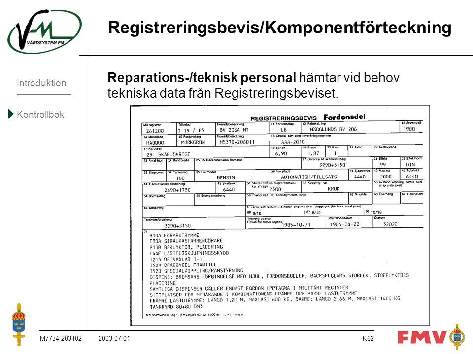 Introduktion Kontrollbok M7734-203102K62 Registreringsbevis/Komponentförteckning Reparations-/teknisk personal hämtar vid behov tekniska data från Reg