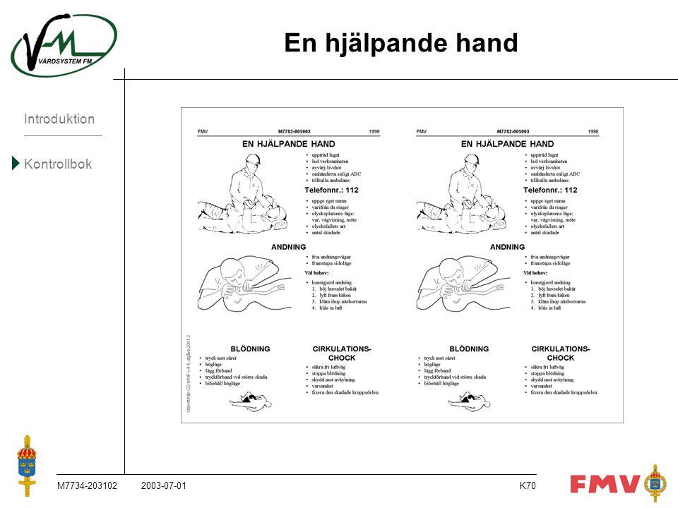 Introduktion Kontrollbok M7734-203102K70 En hjälpande hand 2003-07-01