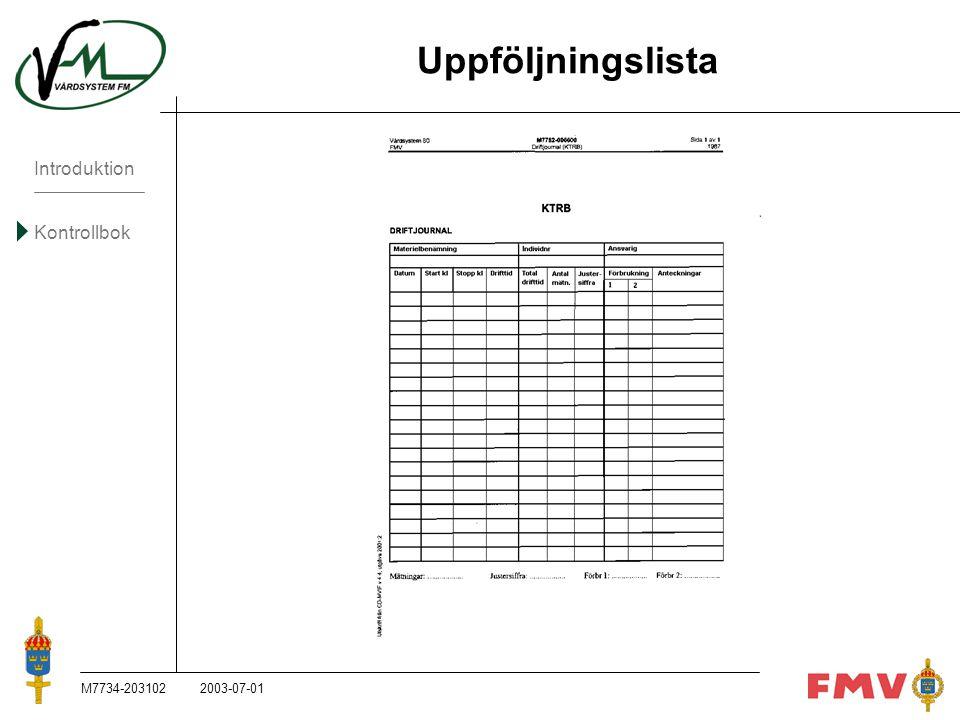Introduktion Kontrollbok M7734-203102K81 Uppföljningslista 2003-07-01