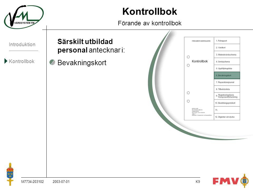 Introduktion Kontrollbok M7734-203102K50 Bevakningskort Förråds-/teknisk personal antecknar när materielen tagits i bruk efter långtidsförvaring.