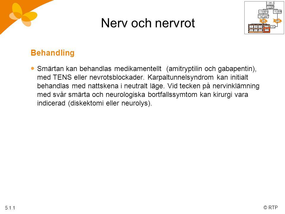 © RTP Nerv och nervrot polio med/utan förlamning Flik 1:0 Konsekvenserna av poliosjukdomen Flik 2:0 muskelsvaghet med/utan andra symptom Flik 3:0 icke muskelsvag med andra symptom Flik 3:1 felställningar,överutnyttjande, ytterläge, instabilitet, muskelstramhet smärta smärta Nociceptiv Neuropatisk led Flik 4:1 lednära Flik 4:2 muskel Flik 4:3 nerv och nervrot Flik 5:1 UNS Flik 6:0 Behandling Flik 4:1:1 Behandling Flik 4:2:1 Behandling Flik 4:3:1 Behandling Flik 5:1:1 5:1.1 Behandling  Smärtan kan behandlas medikamentellt (amitryptilin och gabapentin), med TENS eller nevrotsblockader.