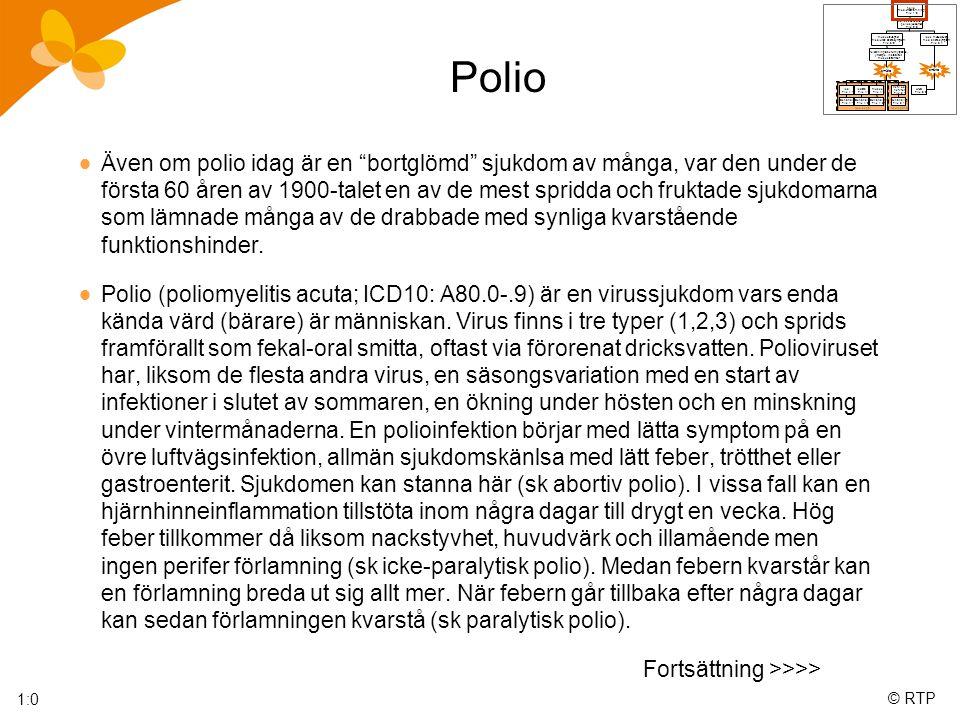 © RTP Polio  Även om polio idag är en bortglömd sjukdom av många, var den under de första 60 åren av 1900-talet en av de mest spridda och fruktade sjukdomarna som lämnade många av de drabbade med synliga kvarstående funktionshinder.