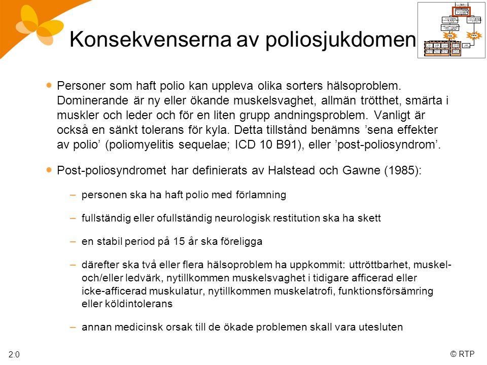 © RTP Konsekvenserna av poliosjukdomen  Personer som haft polio kan uppleva olika sorters hälsoproblem.