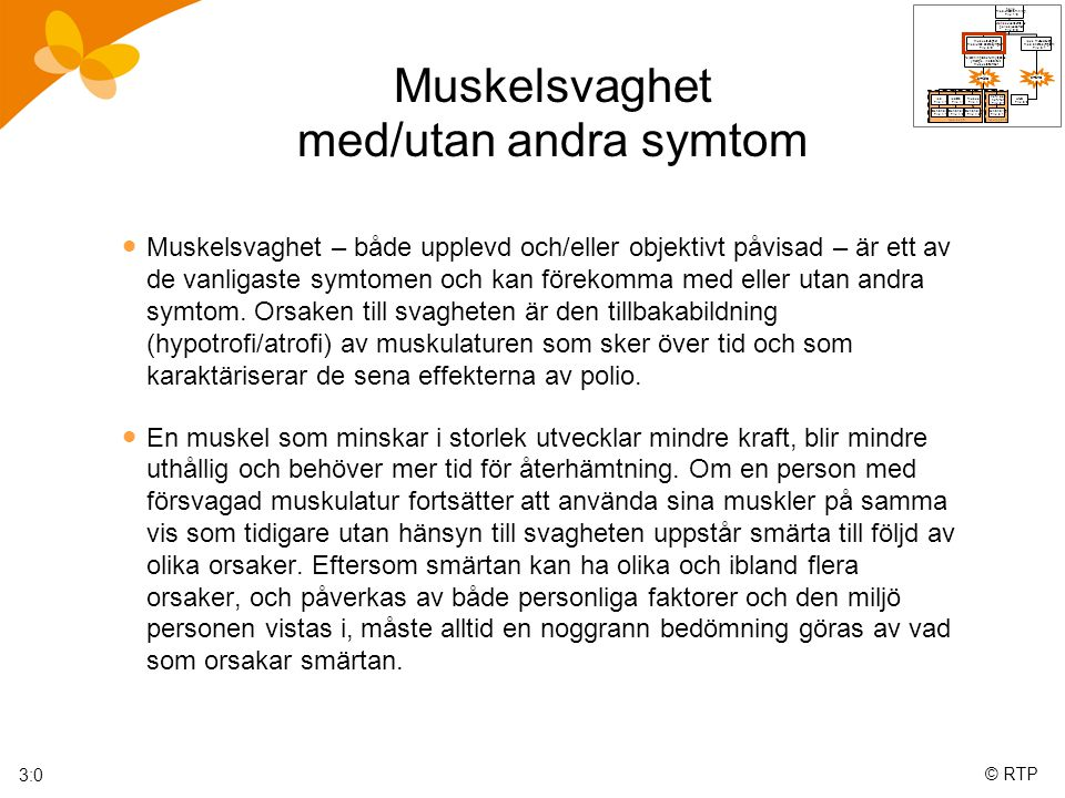 © RTP Muskelsvaghet med/utan andra symtom  Muskelsvaghet – både upplevd och/eller objektivt påvisad – är ett av de vanligaste symtomen och kan förekomma med eller utan andra symtom.