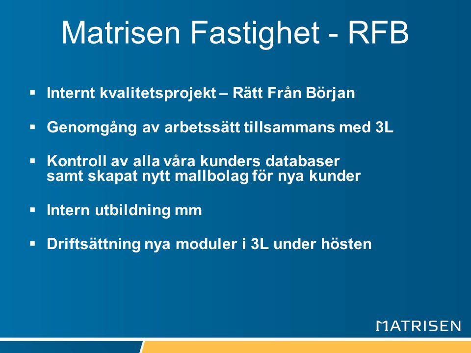 Matrisen Fastighet - RFB  Internt kvalitetsprojekt – Rätt Från Början  Genomgång av arbetssätt tillsammans med 3L  Kontroll av alla våra kunders da