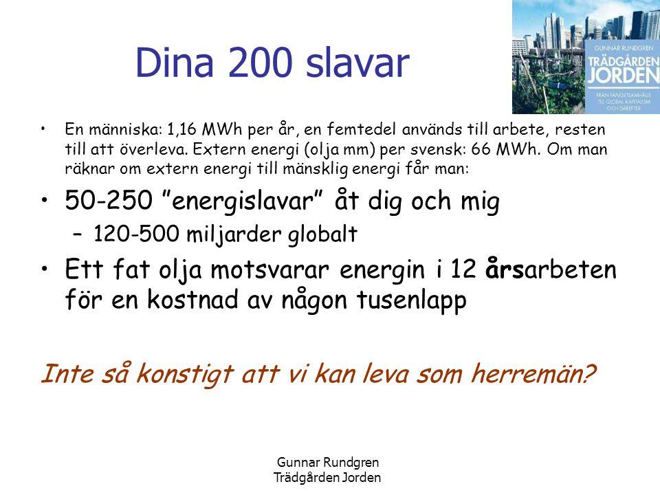 Gunnar Rundgren Trädgården Jorden Dina 200 slavar •En människa: 1,16 MWh per år, en femtedel används till arbete, resten till att överleva.