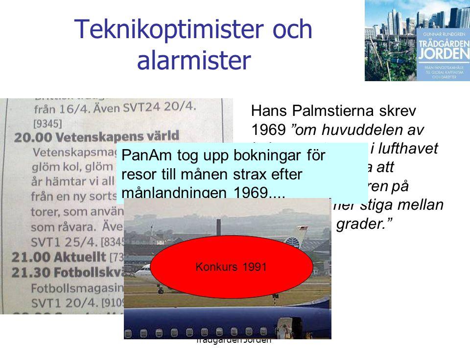 Gunnar Rundgren Trädgården Jorden Teknikoptimister och alarmister Hans Palmstierna skrev 1969 om huvuddelen av kolsyran stannar i lufthavet kan man beräkna att medeltemperaturen på jorden kommer stiga mellan två och fyra grader. PanAm tog upp bokningar för resor till månen strax efter månlandningen 1969....