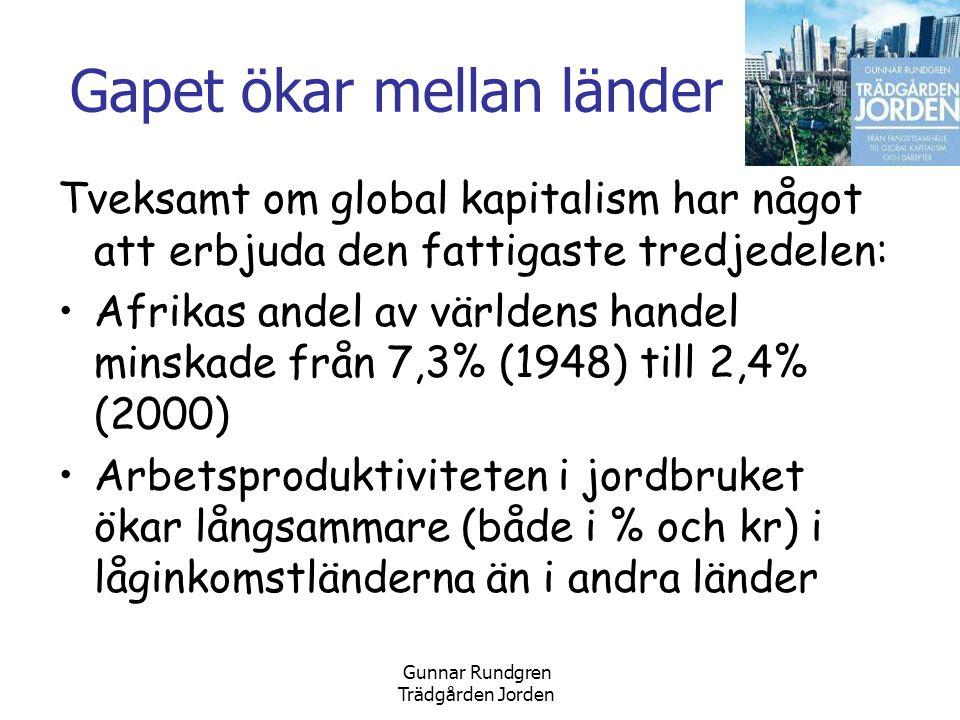 Gunnar Rundgren Trädgården Jorden Gapet ökar mellan länder Tveksamt om global kapitalism har något att erbjuda den fattigaste tredjedelen: •Afrikas andel av världens handel minskade från 7,3% (1948) till 2,4% (2000) •Arbetsproduktiviteten i jordbruket ökar långsammare (både i % och kr) i låginkomstländerna än i andra länder