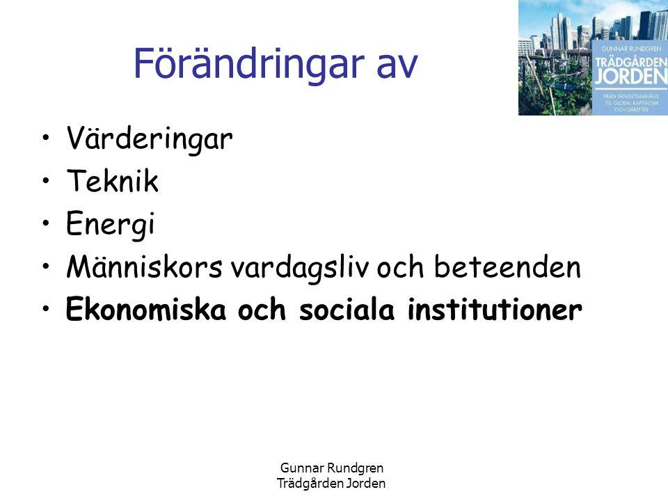 Gunnar Rundgren Trädgården Jorden Förändringar av •Värderingar •Teknik •Energi •Människors vardagsliv och beteenden •Ekonomiska och sociala institutioner
