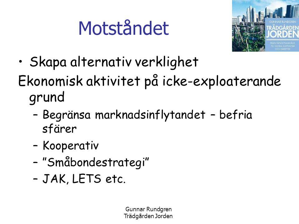 Gunnar Rundgren Trädgården Jorden Motståndet •Skapa alternativ verklighet Ekonomisk aktivitet på icke-exploaterande grund –Begränsa marknadsinflytandet – befria sfärer –Kooperativ – Småbondestrategi –JAK, LETS etc.