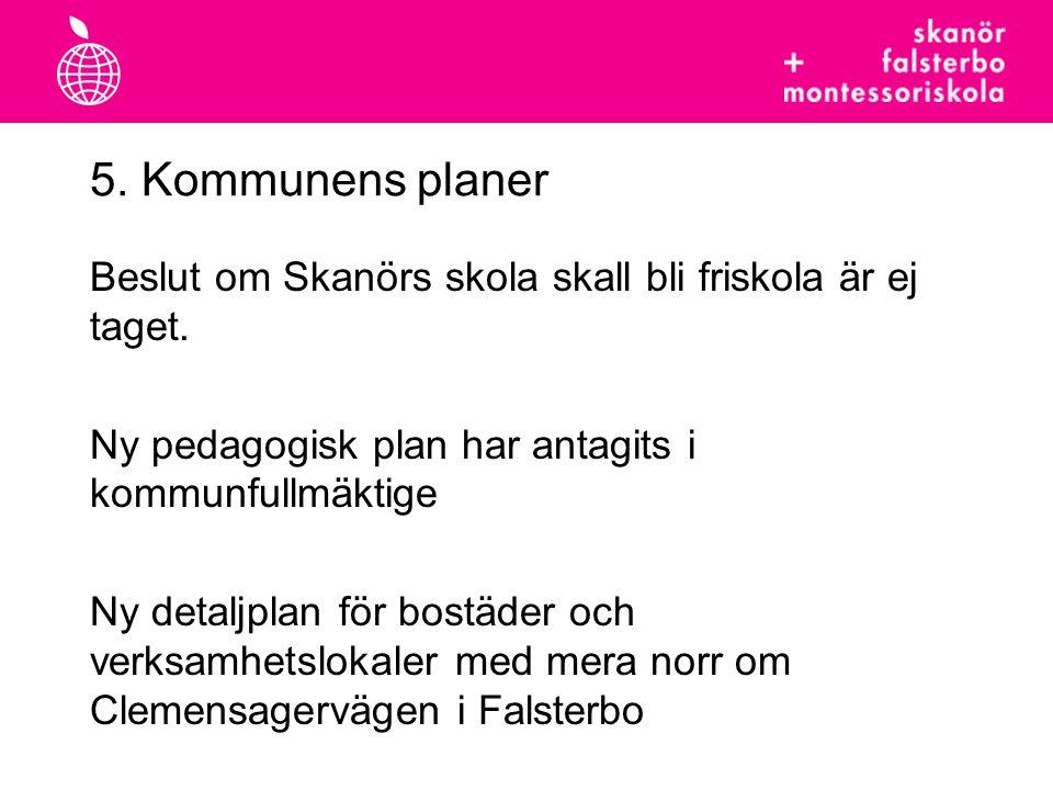 5. Kommunens planer Beslut om Skanörs skola skall bli friskola är ej taget. Ny pedagogisk plan har antagits i kommunfullmäktige Ny detaljplan för bost