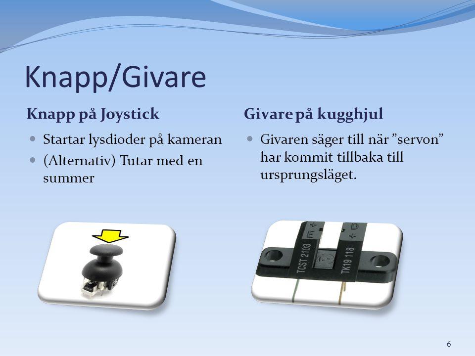 Knapp/Givare Knapp på Joystick Givare på kugghjul  Startar lysdioder på kameran  (Alternativ) Tutar med en summer  Givaren säger till när servon har kommit tillbaka till ursprungsläget.