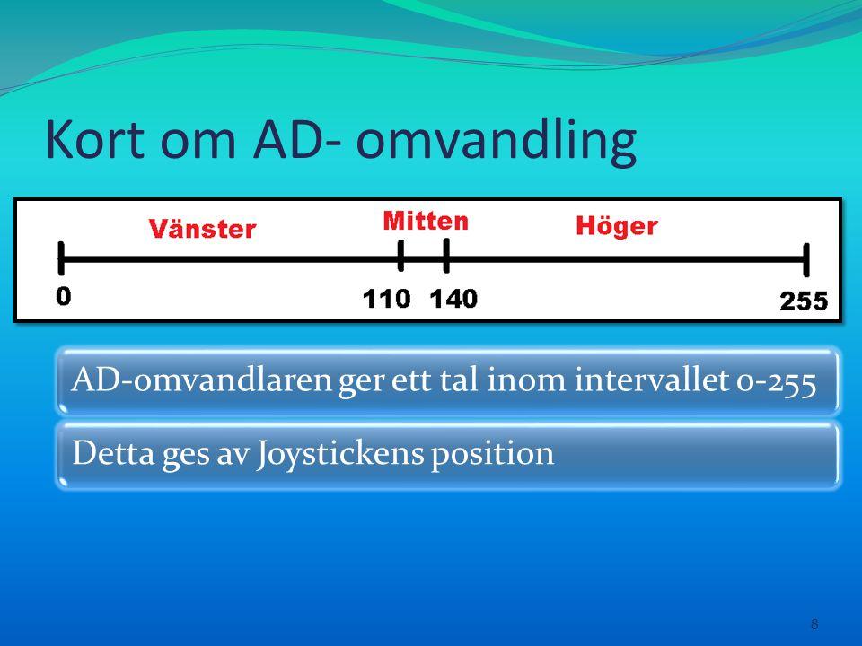 Kort om AD- omvandling 8 AD-omvandlaren ger ett tal inom intervallet 0-255Detta ges av Joystickens position