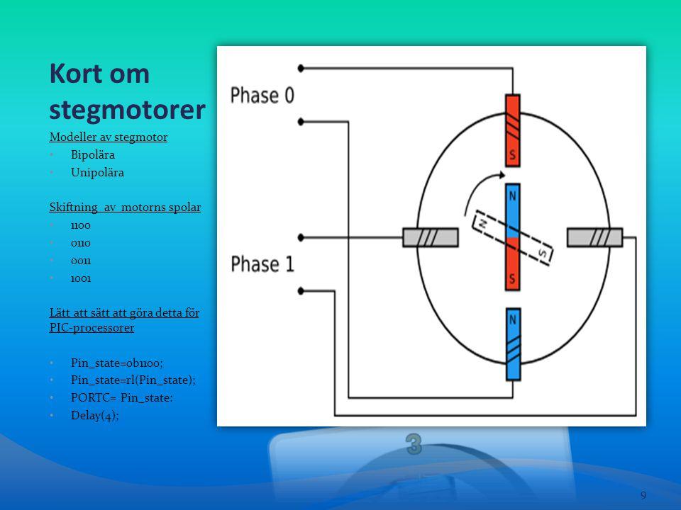 Kort om stegmotorer Modeller av stegmotor • Bipolära • Unipolära Skiftning av motorns spolar • 1100 • 0110 • 0011 • 1001 Lätt att sätt att göra detta för PIC-processorer • Pin_state=0b1100; • Pin_state=rl(Pin_state); • PORTC= Pin_state: • Delay(4); 9