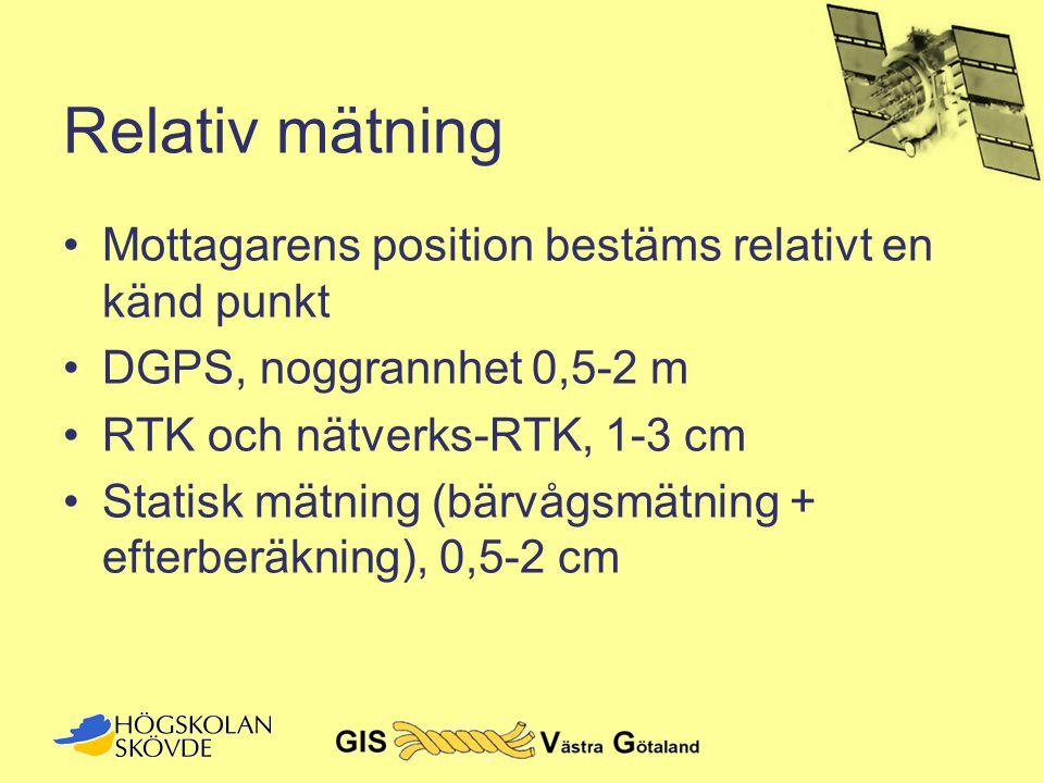 Relativ mätning •Mottagarens position bestäms relativt en känd punkt •DGPS, noggrannhet 0,5-2 m •RTK och nätverks-RTK, 1-3 cm •Statisk mätning (bärvåg