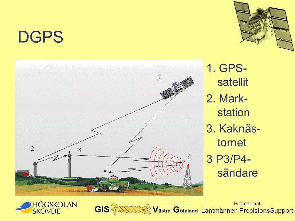 DGPS 1. GPS- satellit 2. Mark- station 3. Kaknäs- tornet 3 P3/P4- sändare 1 2 4 3 Bildmaterial Lantmännen PrecisionsSupport