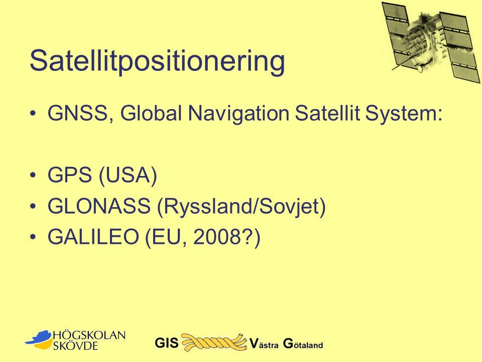 GPS - bakgrund •Navstar GPS –NAVigation System with Timing And Ranging Global Positioning System •Ursprungligen för amerikanskt militärt bruk –Påbörjat 1973 –Officiellt igång 1995
