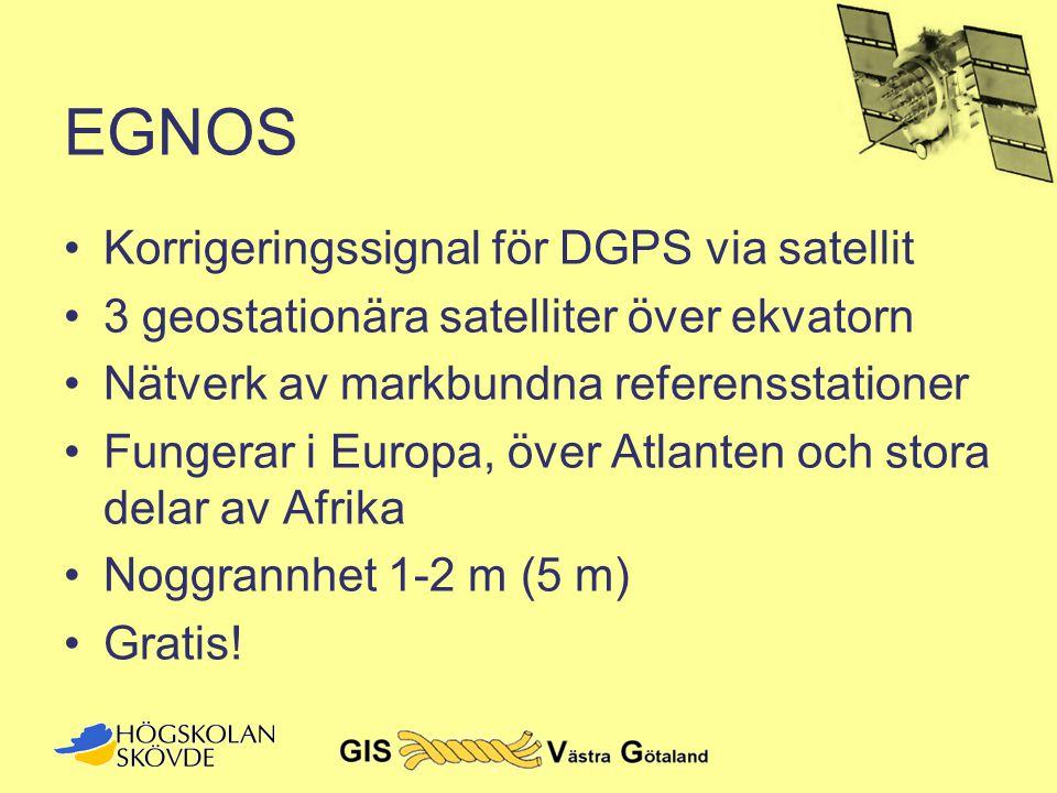 EGNOS •Korrigeringssignal för DGPS via satellit •3 geostationära satelliter över ekvatorn •Nätverk av markbundna referensstationer •Fungerar i Europa,