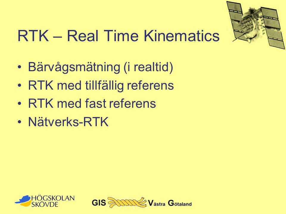 RTK – Real Time Kinematics •Bärvågsmätning (i realtid) •RTK med tillfällig referens •RTK med fast referens •Nätverks-RTK