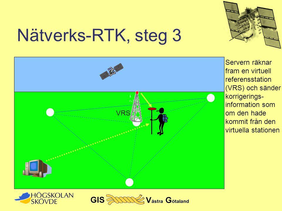 Nätverks-RTK, steg 3 VRS Servern räknar fram en virtuell referensstation (VRS) och sänder korrigerings- information som om den hade kommit från den vi