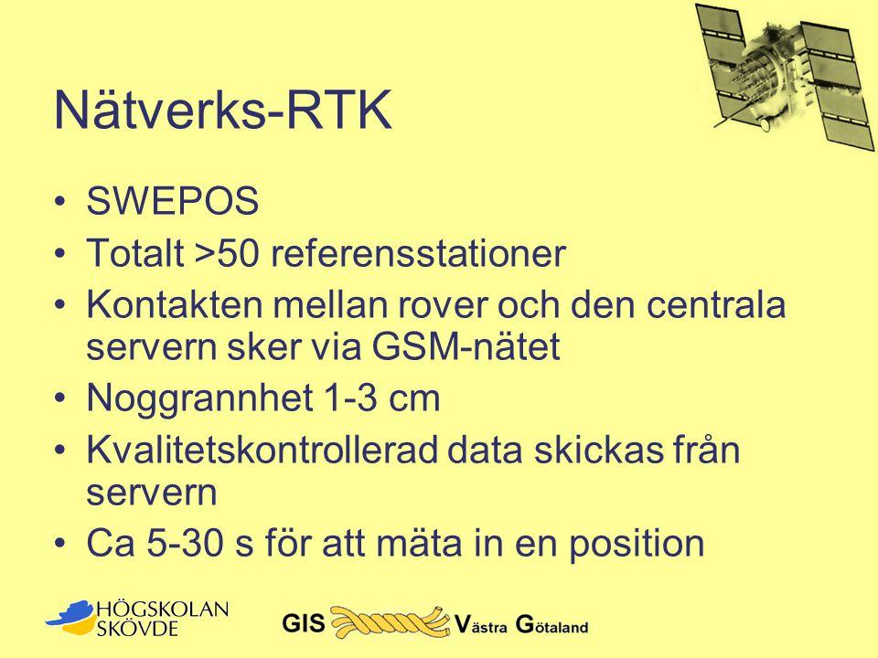 Nätverks-RTK •SWEPOS •Totalt >50 referensstationer •Kontakten mellan rover och den centrala servern sker via GSM-nätet •Noggrannhet 1-3 cm •Kvalitetsk