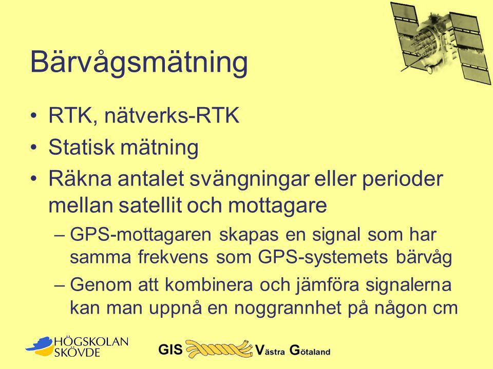 Bärvågsmätning •RTK, nätverks-RTK •Statisk mätning •Räkna antalet svängningar eller perioder mellan satellit och mottagare –GPS-mottagaren skapas en s