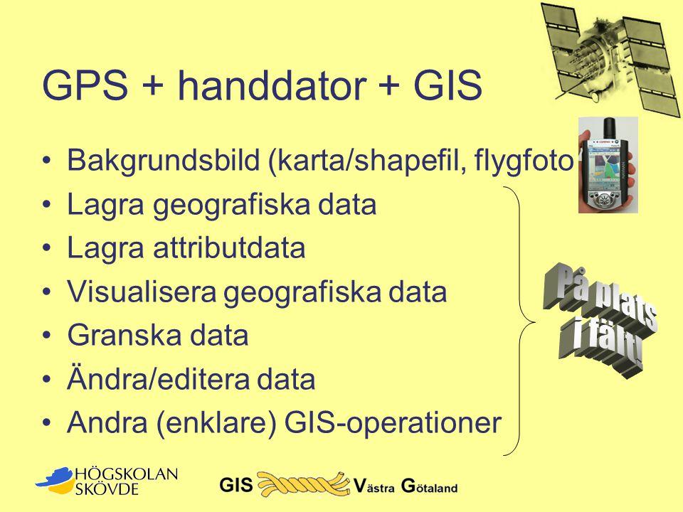 GPS + handdator + GIS •Bakgrundsbild (karta/shapefil, flygfoto etc) •Lagra geografiska data •Lagra attributdata •Visualisera geografiska data •Granska