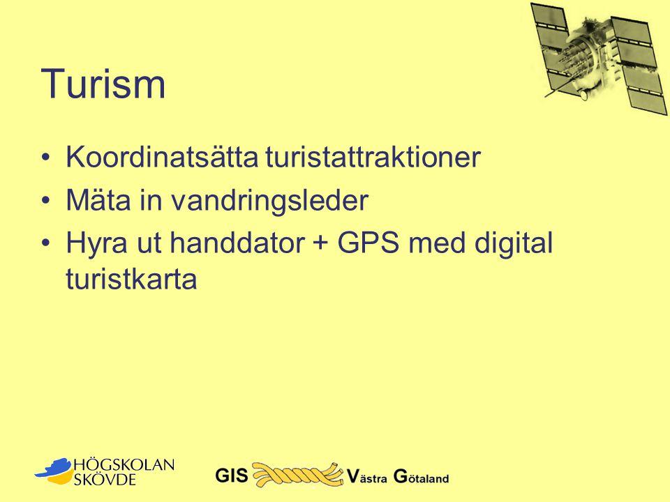 Turism •Koordinatsätta turistattraktioner •Mäta in vandringsleder •Hyra ut handdator + GPS med digital turistkarta