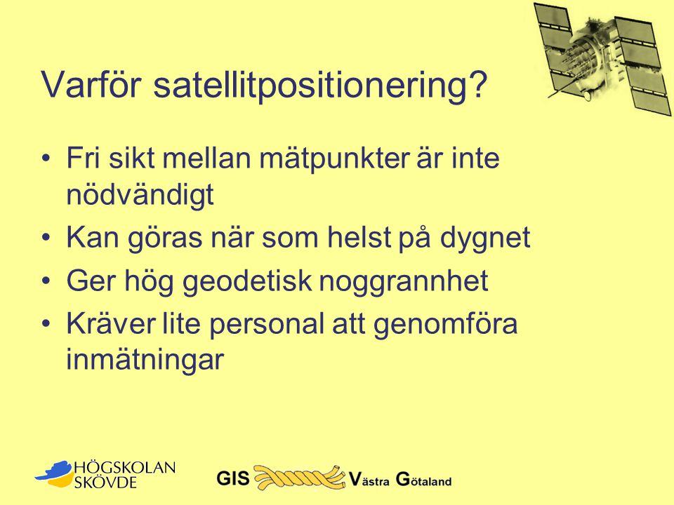 Varför satellitpositionering? •Fri sikt mellan mätpunkter är inte nödvändigt •Kan göras när som helst på dygnet •Ger hög geodetisk noggrannhet •Kräver