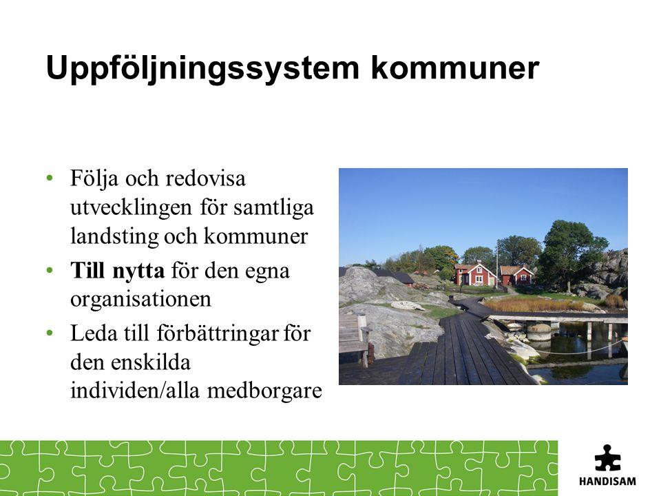 Uppföljningssystem kommuner •Följa och redovisa utvecklingen för samtliga landsting och kommuner •Till nytta för den egna organisationen •Leda till förbättringar för den enskilda individen/alla medborgare
