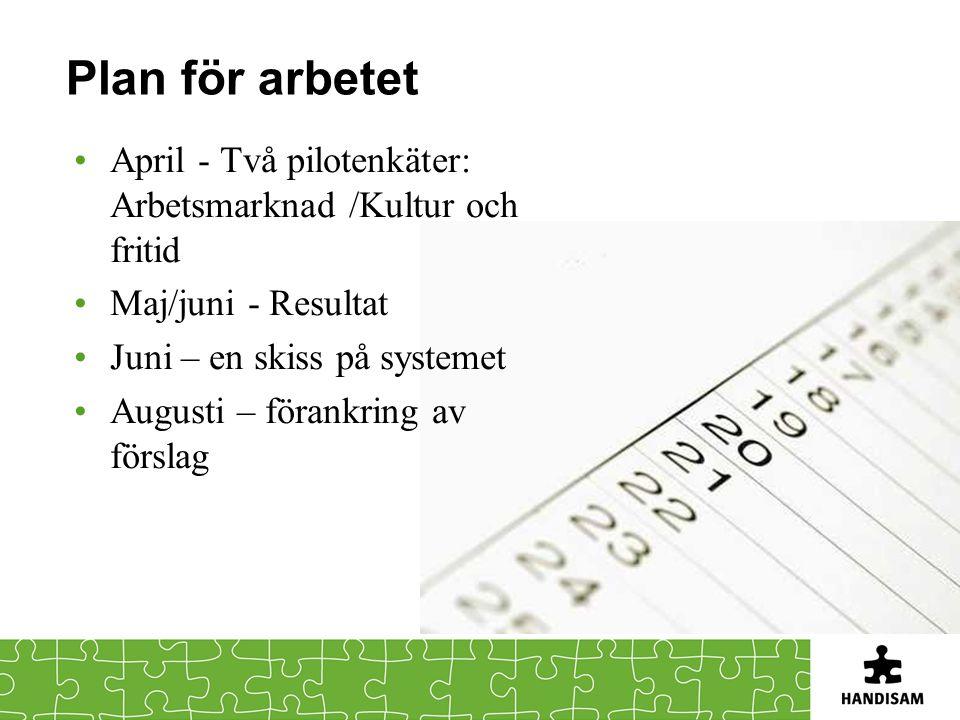 Plan för arbetet •April - Två pilotenkäter: Arbetsmarknad /Kultur och fritid •Maj/juni - Resultat •Juni – en skiss på systemet •Augusti – förankring av förslag
