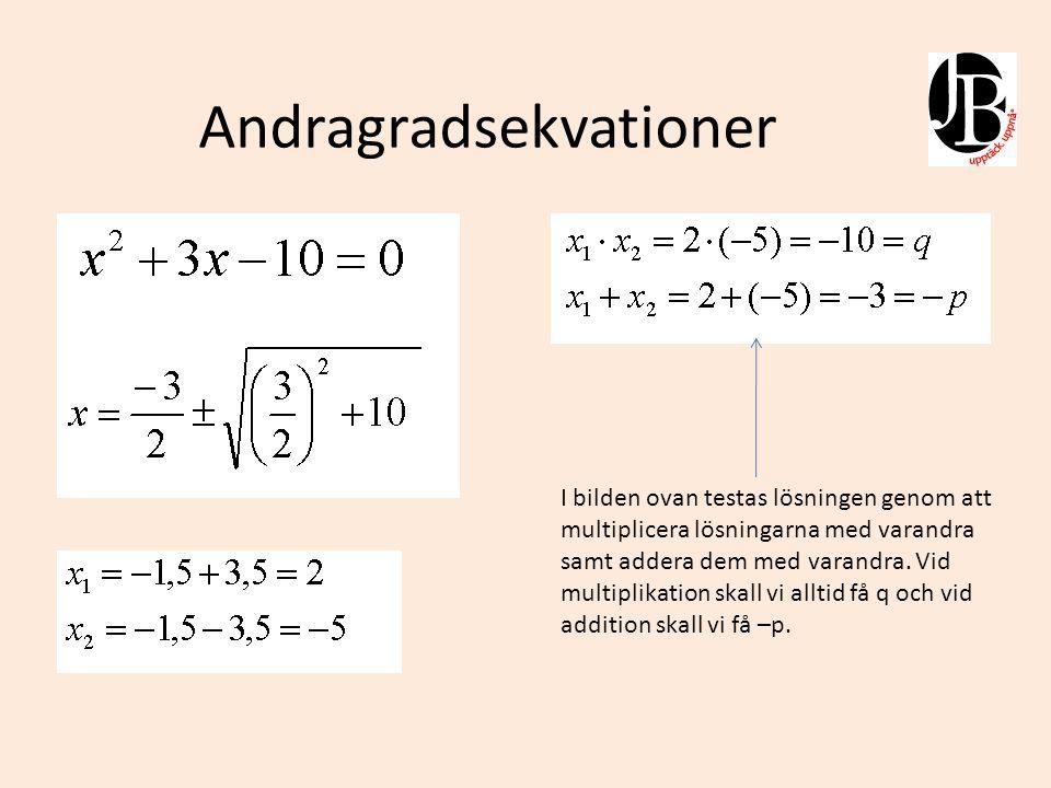 Algebra och kvadratkomplettering När vi löste ekvationen ovan använde vi p-q-formeln.