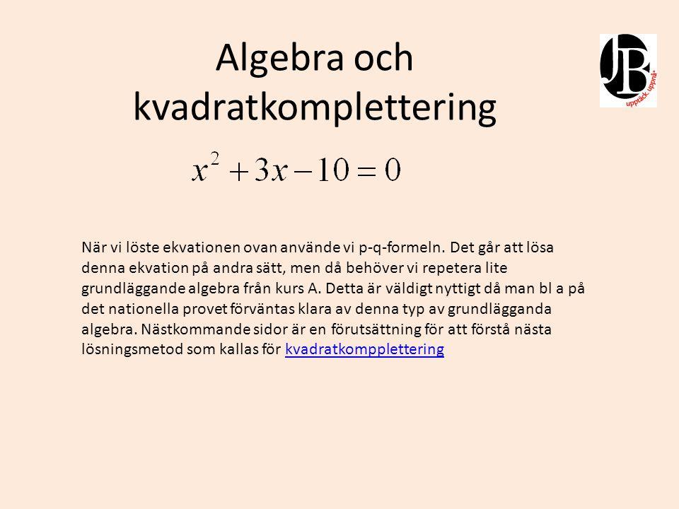 Algebra och kvadreringsregler Förs måste vi lära oss multiplikation från årskurs 5!
