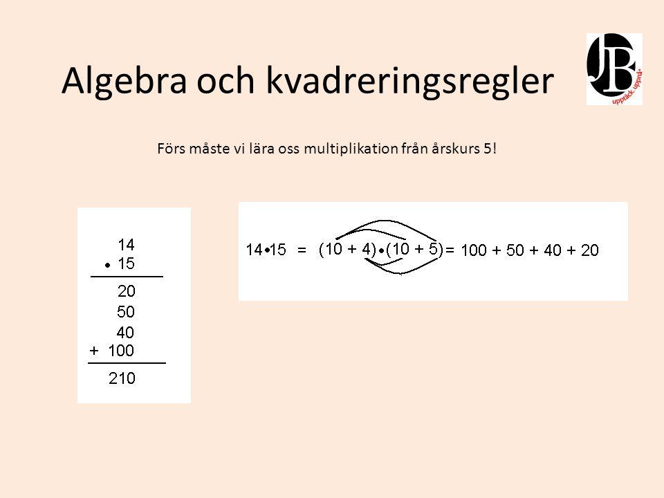 Algebra och kvadreringsregler Här tillämpar vi våra kunskaper i multiplikation på algebra med parenteser.