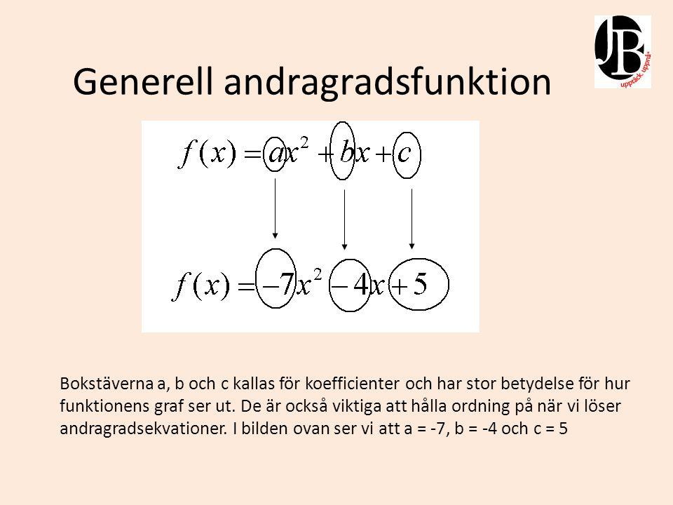 Andragradsekvationer Att lösa andragradsekvationer innebär oftast att man vill finna en andragradsfunktions rötter (nollställen) I bilden till vänster ser vi nollställena x = -9 & x = 1 Prova att sätt in talen i ekvationen nedan och se om det blir noll.