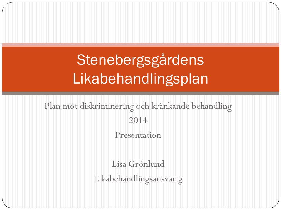 Plan mot diskriminering och kränkande behandling 2014 Presentation Lisa Grönlund Likabehandlingsansvarig Stenebergsgårdens Likabehandlingsplan