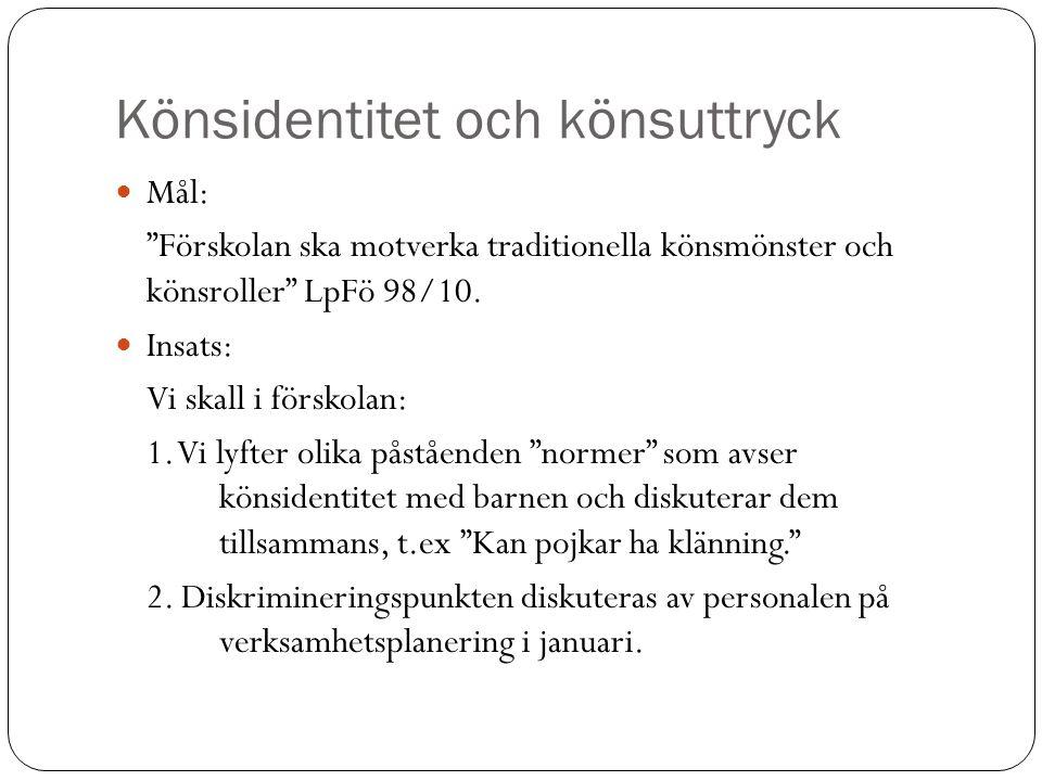 Könsidentitet och könsuttryck  Mål: Förskolan ska motverka traditionella könsmönster och könsroller LpFö 98/10.