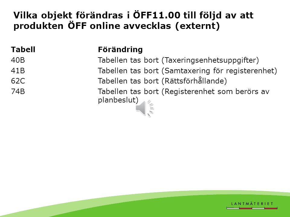 Vilka objekt förändras i ÖFF11.00 till följd av Inskrivningsprogrammet TabellFörändring 01A-C, 01RInnehåll i fält töms och läggs i annan tabell 21A-28